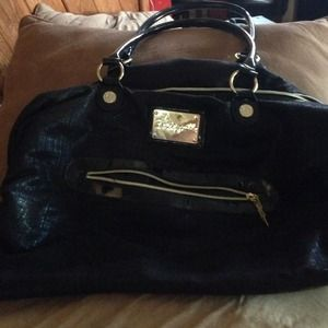 Huge Betseyville Black w/Gold hardware bag