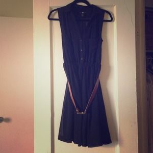 NEWLY-REDUCED Black H&M Sheer Collared Dress
