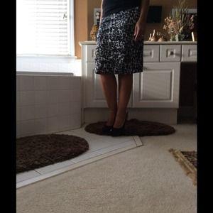 Black and White Leopard print Layered skirt