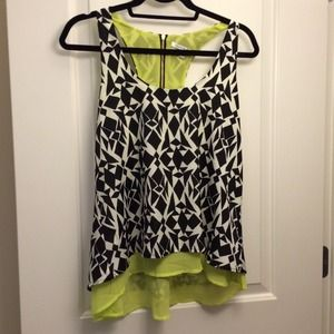 Collective Concepts Tops - NWT Black, White, & Chartreuse Geometric Tank