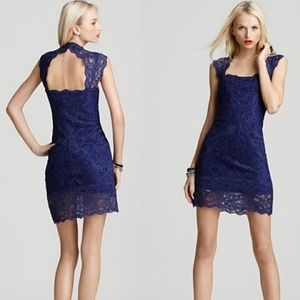 Nicole Miller Stretch Lace Open Back Dress