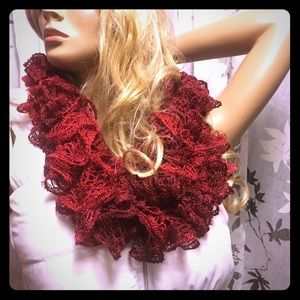 Accessories - Sparkly Red Ruffle Scarf
