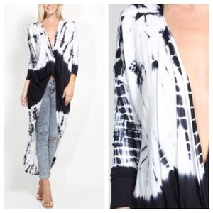 Tops - B&W Navy Tie-Dye Front Wrap Top