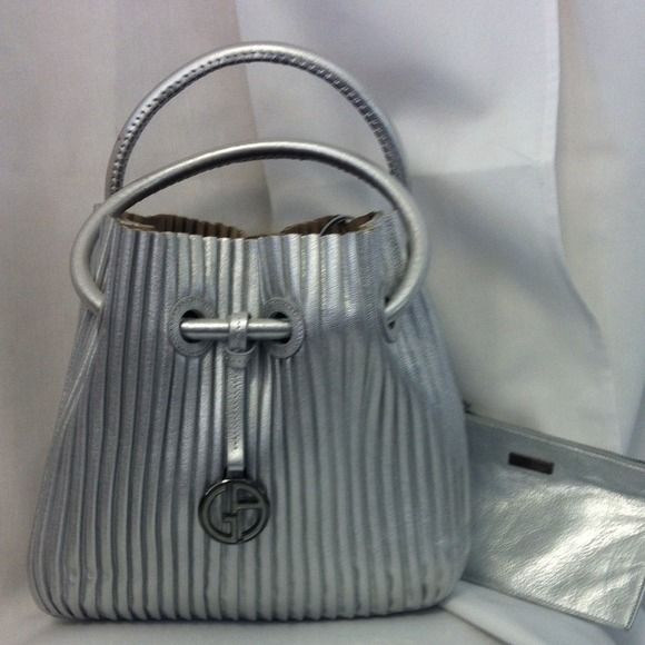 9f1ad1ab408 Giorgio Armani Handbags - HP!!! GORGIO Armani silver bag w  wallet beautiful