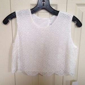BCBGeneration Tops - BCBGeneration White Lace Crop Top