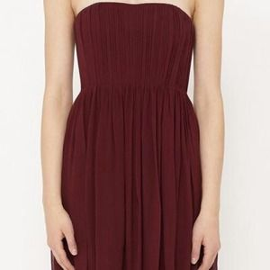 Burgundy Alice and Olivia strapless dress