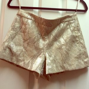 French Connection Gold Metallic Snake Print Shorts