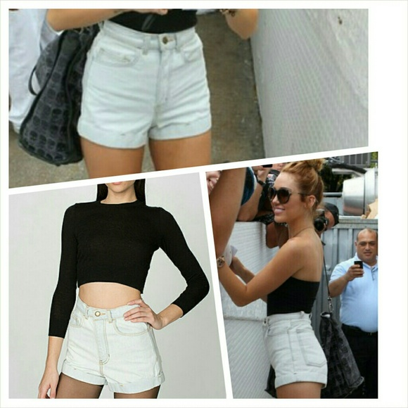 High waisted jean shorts light wash