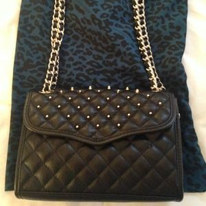 Rebecca Minkoff quilted studded mini affair bag.
