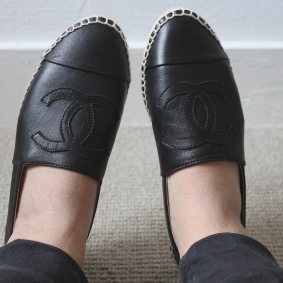 30ebd48aa CHANEL Shoes - Black Leather Chanel Espadrilles euro 38