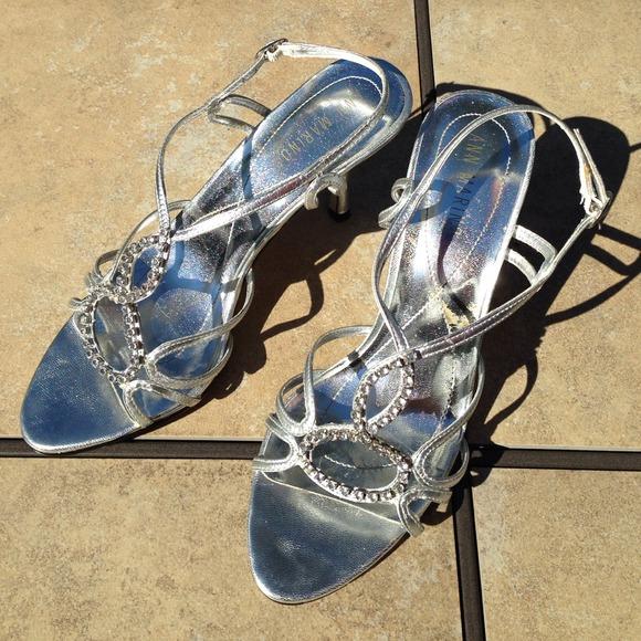 ann marino silver strappy heels from honeys closet on