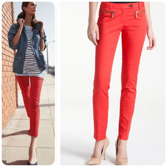 ELIE TAHARI MARCIA RED SKINNY ANKLE PANTS. The Marcia pant is a comfortable, easy-to-wear crop pant. its bi-stretch fabric creates a smooth, flattering shape, .