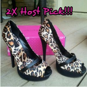 FLASH SALE! NWT Leopard Print Peep-toe Heels