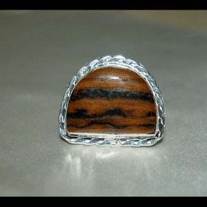 handmade & handcrafted gemstone jewelry Jewelry - Handmade Iron Tiger Eye Silver Ring 7 3/4