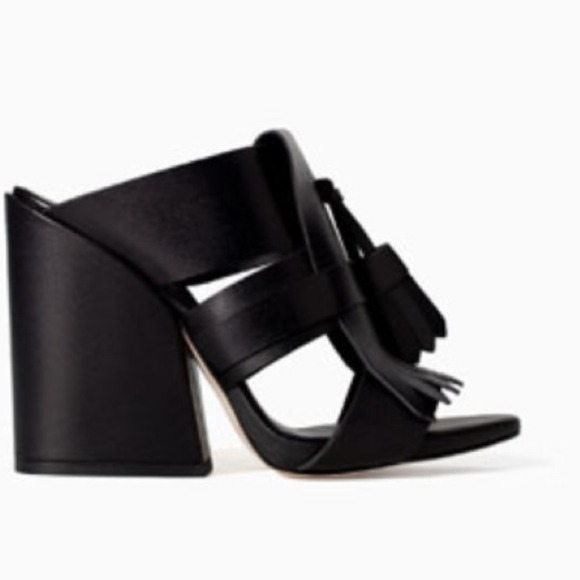 Zara Shoes - Zara Chunky Heel Mule with Fringe