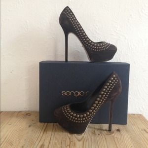 Sergio Rossi Suede Studded Pumps