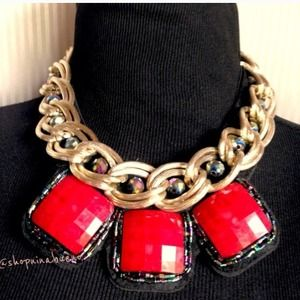 Jewelry - Red & Gold Bauble Statement Necklace