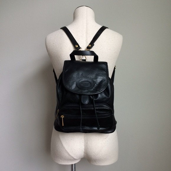 Valentino - Vintage Valentino Black Leather Backpack Purse from ...