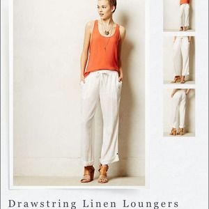 Anthropologie Pants - ⚡️SALE⚡️Anthropologie Drawstring Linen Loungers