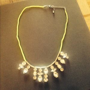 Neon Yellow and Crystal Necklace