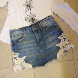 ellison ellison ellison Denim - Sexy lace side open denim  mini skirt
