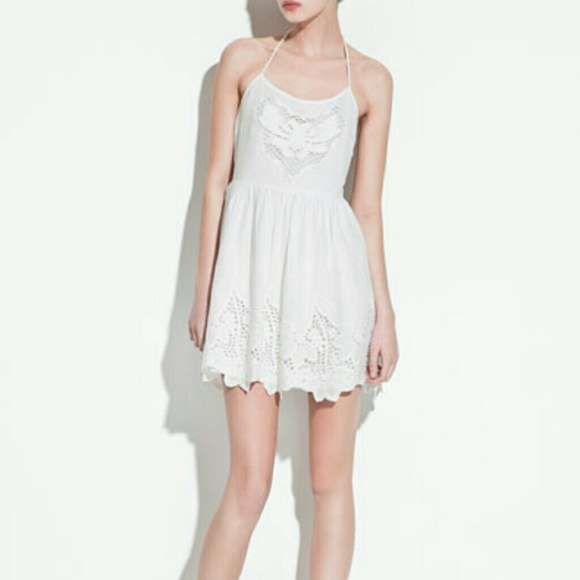 Zara Dresses - Zara White Halter Neck Dress w/ Eyelet and Rope