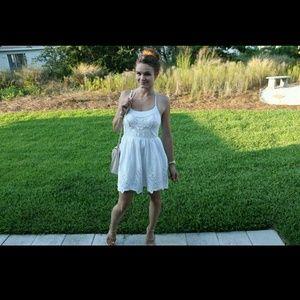 Zara Dresses - Zara White Halter Neck Dress w/ Eyelet and Rope