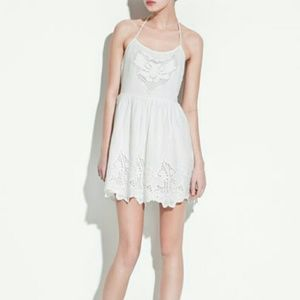 Zara Dresses & Skirts - Zara White Halter Neck Dress w/ Eyelet and Rope