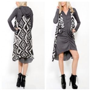 Outerwear - 25% OFF TODAY ONLY Black Grey Open Vest Cardigan
