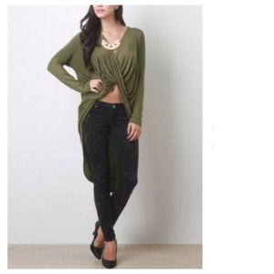 Tops - Military Green Draped Front Hi-Lo Top