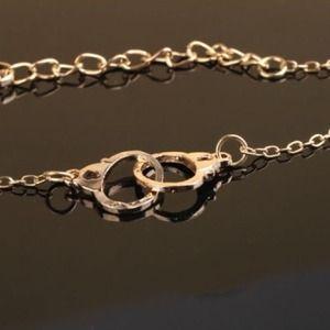 Handmade Gold Tone Handcuff Charm Bracelet Anklet