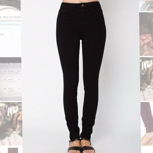 Black High waist 4way stretch side zip jeans