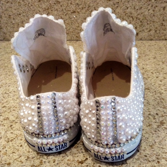 Converse Shoes - Customized #pearl Converse Sneakers