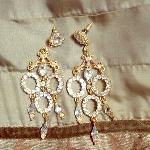 Diamond studded gold earrings