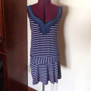Free People Blue White  Striped Tank M