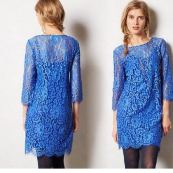 Anthropologie blue lace dress