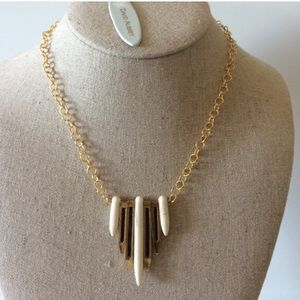 NIB David Aubrey gold Spike Necklace