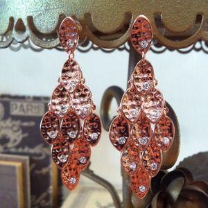 NEW Rose Gold Tone Leaf Fan Post Drop Earrings
