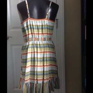 Xhilaration Dresses - Striped ruffle top spaghetti strap dress
