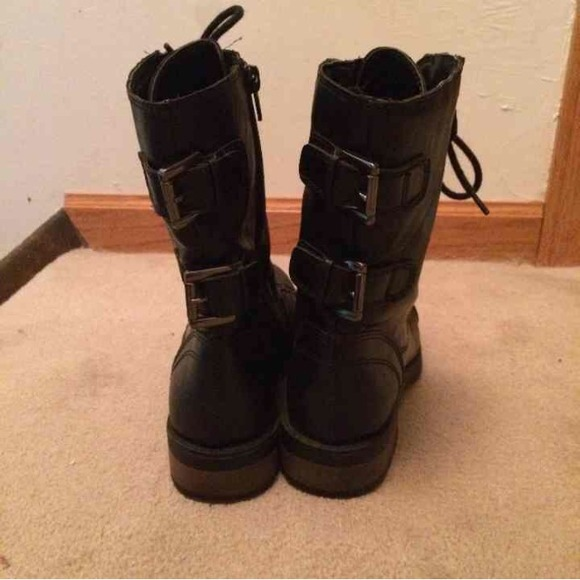 mossimo supply co black combat boots from emily s closet