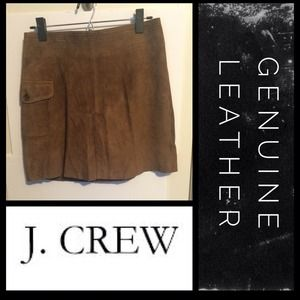 NWT 100% Leather Brown Suede Skirt