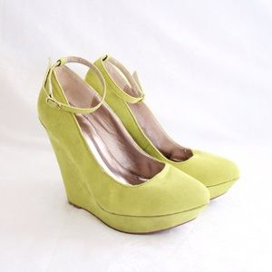 Qupid Shoes - Lime Green Suede Wedge Ankle Strap Heels