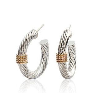 Sterling Silver with 14K Yellow Gold Hoops