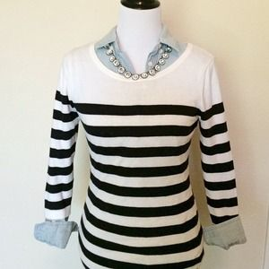 striped boatneck sweater, lightweight, sz SM, F21
