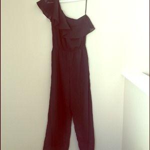 Other - Black one shoulder ruffle jumpsuit