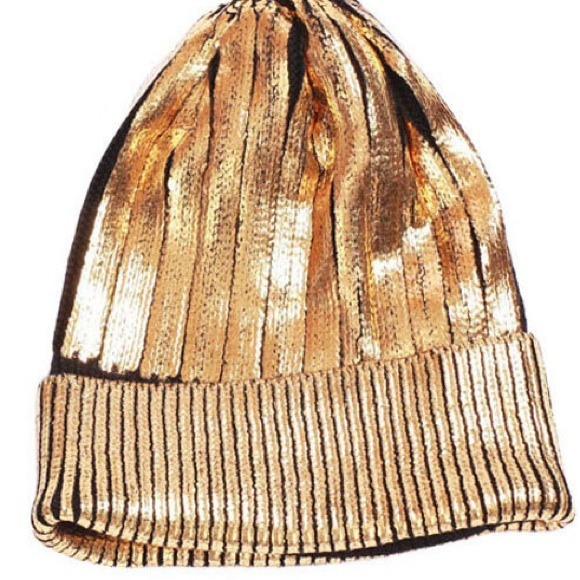 chaincandy Accessories - Foiled Metallic Knit Beanie Silver & Gold