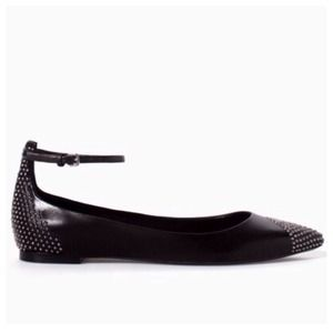 ZARA NWT Leather Studded Ankle Strap Flat