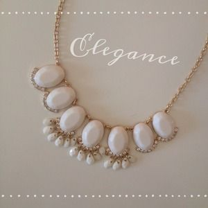Gold & White Statement Necklace