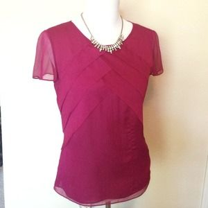 100% silk blouse, berry color, sz 4.