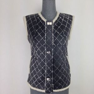 Chanel Size S Black Quilted Leather Wool Trim Vest